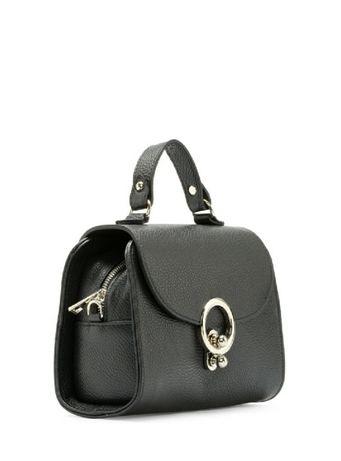 Czarna skórzana torebka damska kuferek Ryłko