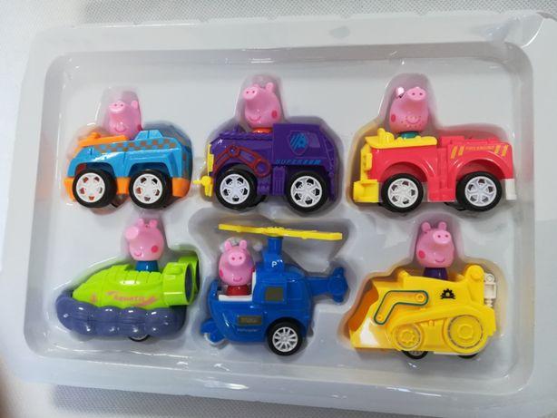 Nowe figurki z bajki świnka Peppa,edukacyjne pojazdy z napędem 6 sztuk