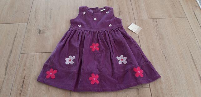 Welurowa sukienka rozmiar 86 nowa z metką