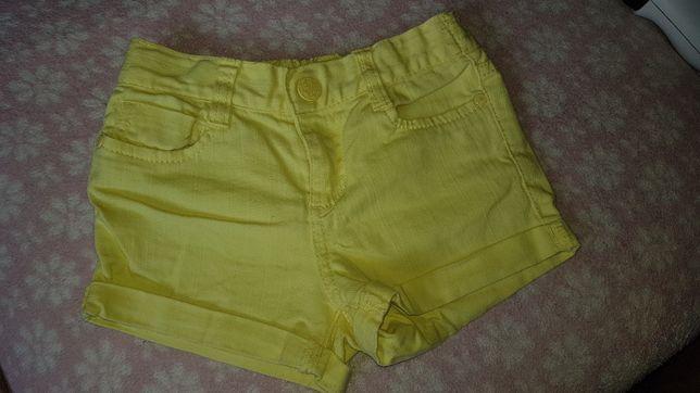 Cytrynowe 116 krotkie spodenki szorty dla dziewczynki żółte