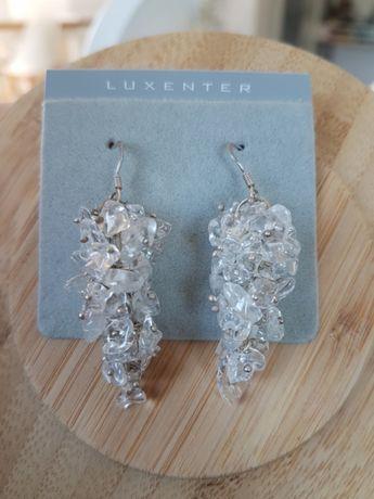 Kolczyki srebro kryształ górski Luxenter