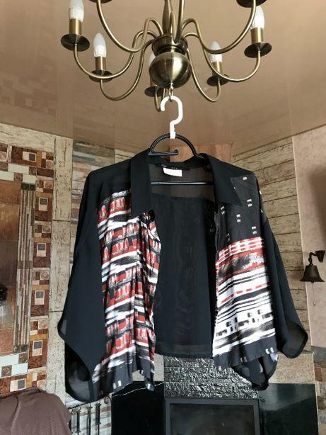 Накидка-блузка(укороченная) с приспущенными плечами большой размер