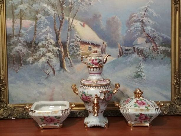 Посуда тарелки самовар статуэтки фарфор