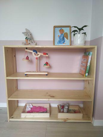 Regał drewniany sosnowy, regał na książki, pomoce montessorii, zabawki