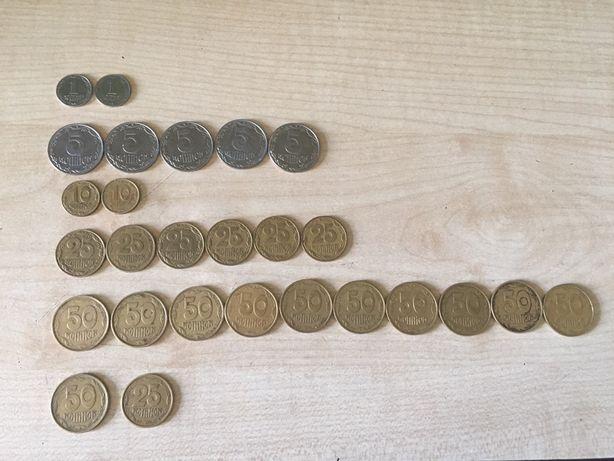 Украинские монеты 1992-1994 года,1,2,5,10,25,50 копеек