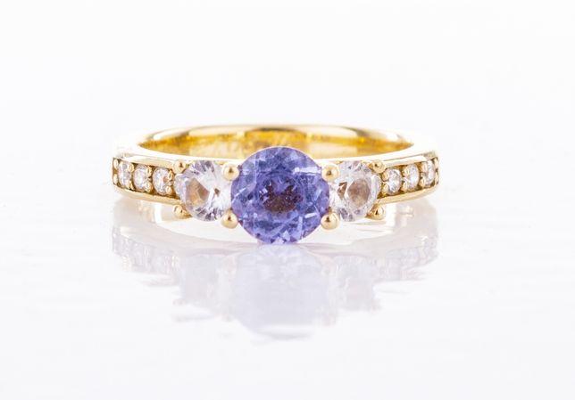 Pierścionek, zaręczynowy, Tanzanit, diamenty, złoto,