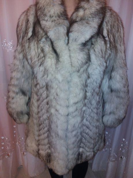 Futro z naturalnego lisa srebrnego płaszcz przed kolano
