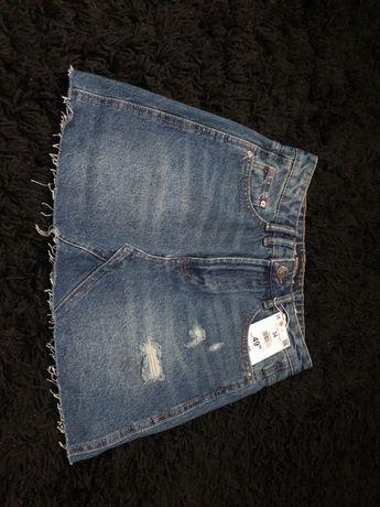 Jeansowa spódnica XS S 34 przetarcia