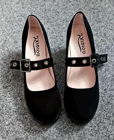 Туфли черные замшевые классичесские готика лолита