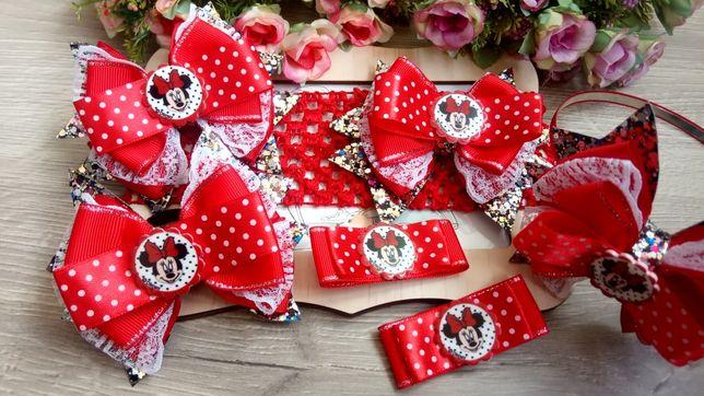 """Набор бантиков """"Минни Маус"""" в красном цвете"""