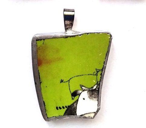 Biżuteria z recyklingu wypasione krówki eko-biżuteria porcelana