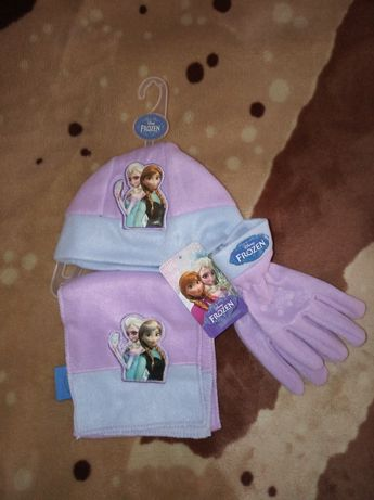 Комплект шапочка,шарфик,перчатки Disney Frozen! Оригинал!Новый!