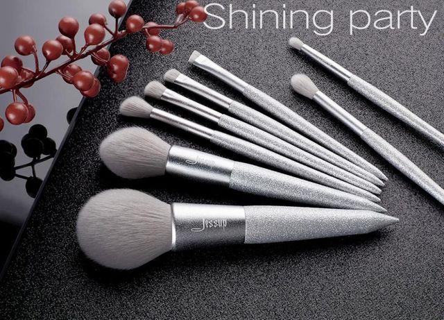 Nowe pędzle Jessup T265 Shining Party SILVER zestaw 8szt do makijażu