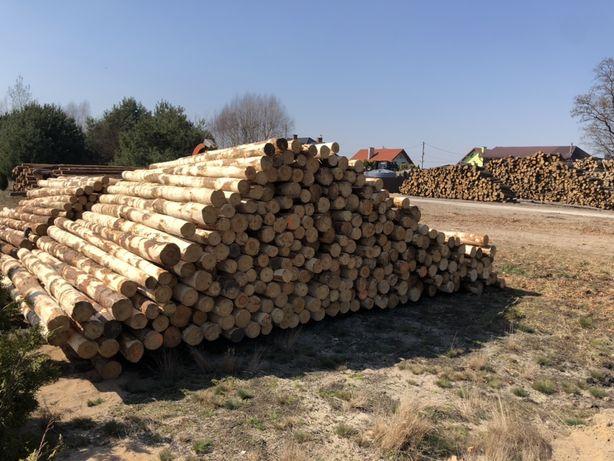 Stemple budowlane, słupki ogrodzeniowe - drewniane, korowane 3M, ,2,7M
