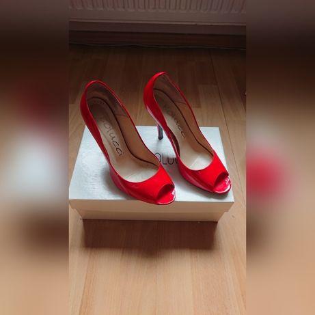 2x Buty Czółenka MARIO BOLUCCI czerwone, czarne, beżowe r. 36 skóra
