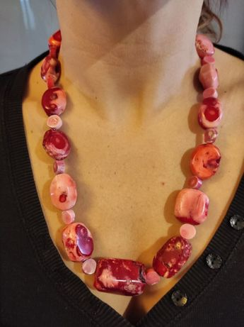 naszyjnik korale naturalne różowe rękodzieło + kolczyki