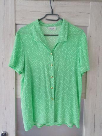 Zielona koszula w białe kropki vintage retro
