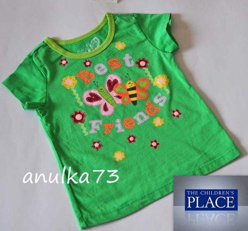 Nowa Zielona bluzka z motylkami T-shirt dziewczęcy PLACE USA 24m 92-98
