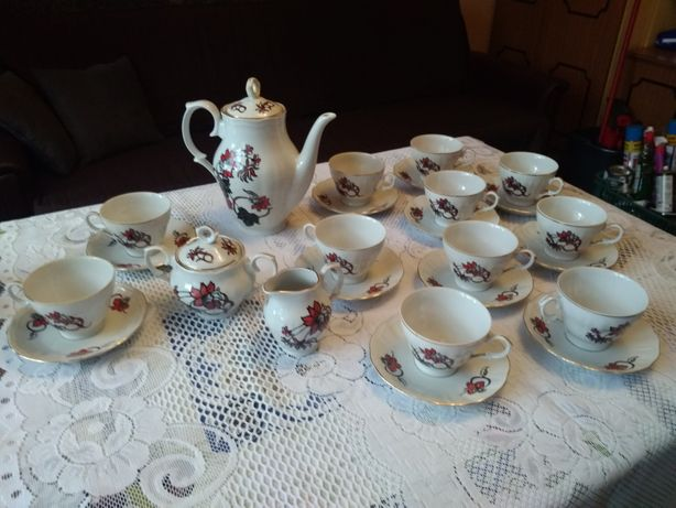 Zestaw kawowy, porcelana Ćmielów