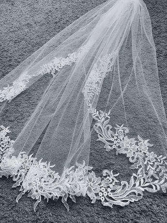 Welon ślubny 100 cm z koronką