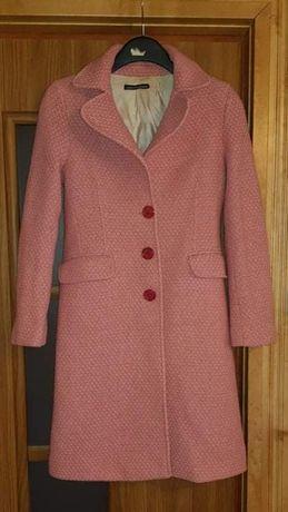 Włoski płaszcz 70%welna owcza. Pudrowy róż.