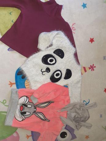 Zestaw sweter panda, bluza królik r.86
