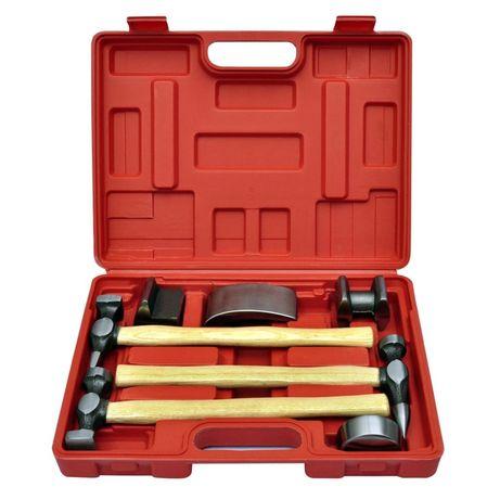 vidaXL Conjunto c/ martelo reparação mossas carroçaria carro 7 pcs 140159