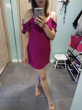 Sukienka fioletowa opadające ramiona mini Bershka L