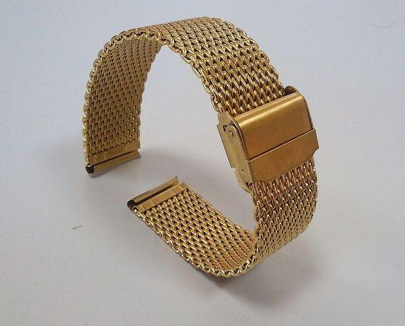 Bransoleta mesh 18mm 20mm 22mm złoty kolor