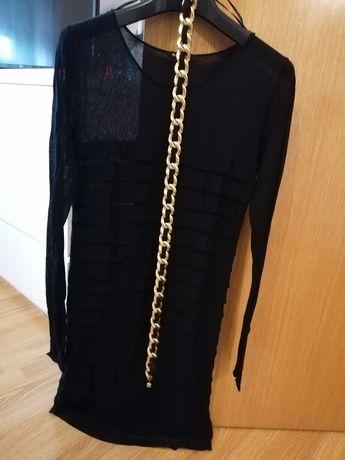 Vestido formal justo preto com cinto