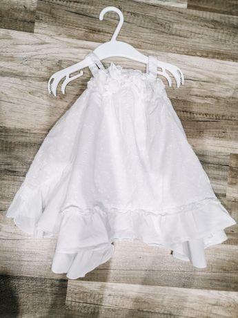 Piękna biała sukienka letnia 74-80cm