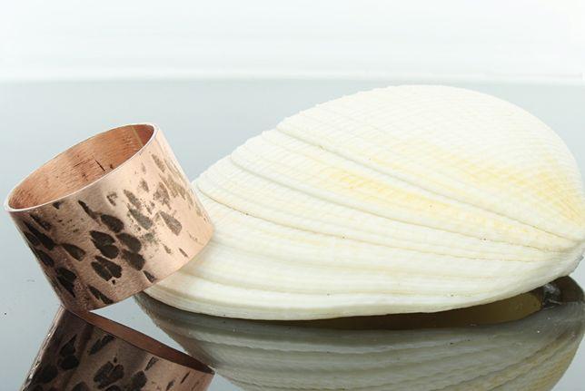Obrączka z czystej miedzi-młotkowana- 1,5 cm