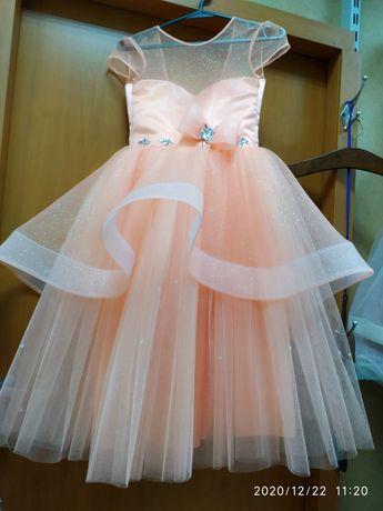 Платье нарядное пудрово-персиковое выпускное 5-6-7 лет подарок