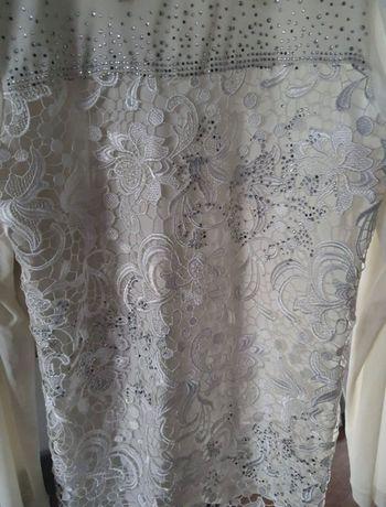Elegancka biała bluzka koronka