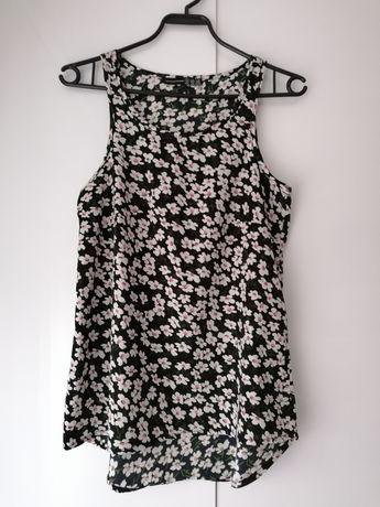 Bluzka na ramiączkach w kwiatki czarna rozmiar 34 XS 36 S