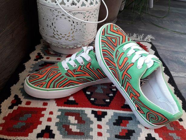 Buty trampki ręcznie malowane kolorowe zielone tanie nowe rozm. 37