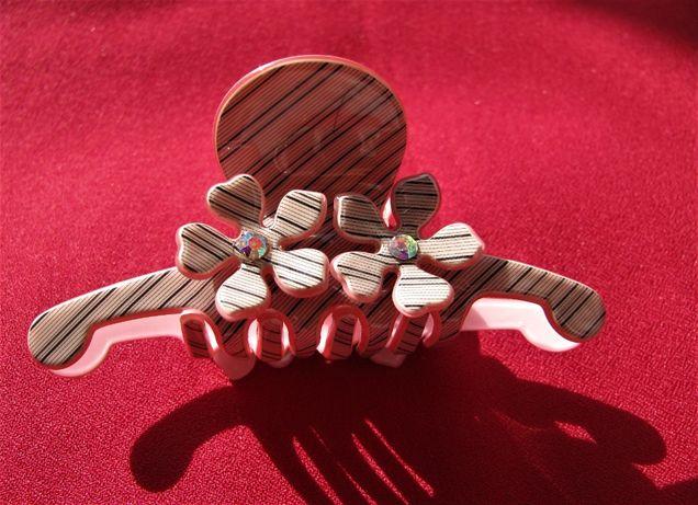 Новая заколка краб с цветами , зажим для волос, необычный крабик