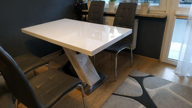 Stół z krzesłami stan idealny, wysoki połysk !