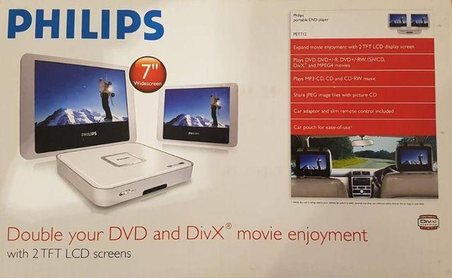 """Odtwarzacz DVD Philips PET712 Dwa telewizorki do auta 7""""DVD/DivX"""