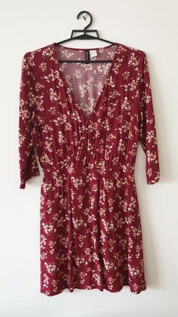 Bordowa sukienka w kwiaty L