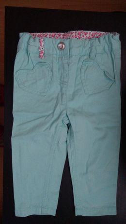 Spodnie Lupilu jeans r.74 turkus zieleń