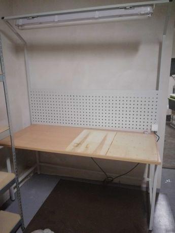 Biurko warsztatowe metalowe z oświetleniem