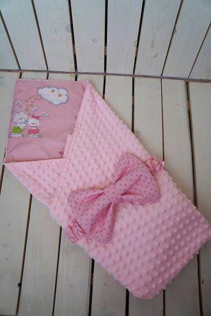 Плюшевое розовое одеялко конверт на выписку, в коляску, в кроватку