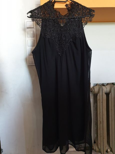 ATMOSPHERE czarna nowa sukienka z koronka r.M
