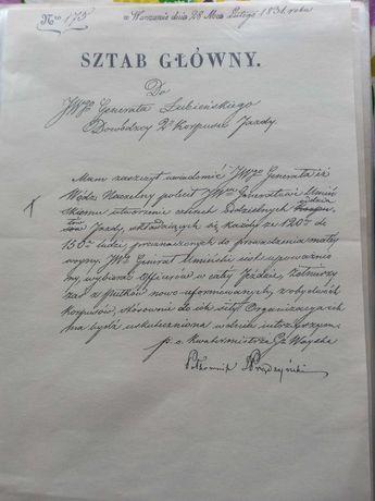Reprint odręcznie napisanego listu gen. I.Prądzyńskiego.Z 1831r.