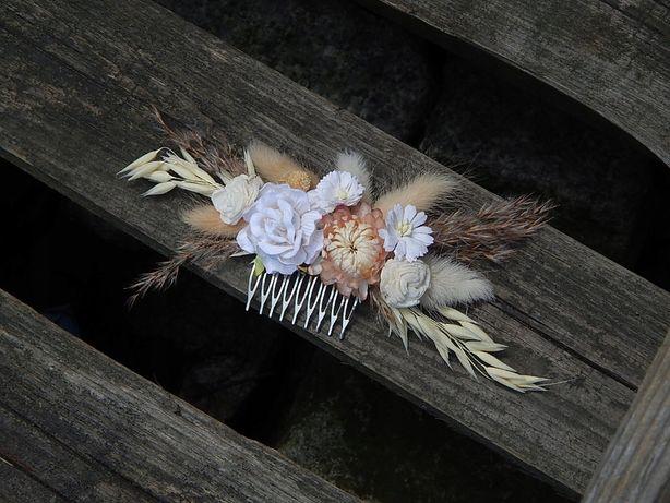 Różany grzebyk do włosów, ozdoba ślubna