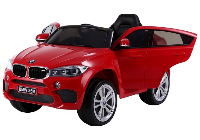 Auto na Akumulator BMW X6 M F16 Skóra Gumowe koła EVA 90 Watt Czerwone