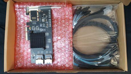 Placa Controladora IOCREST PCI-E de 8 portas SFF8087 SATA III (6 Gbps)