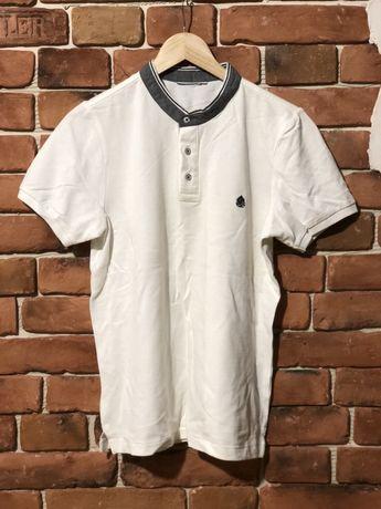 Мужское белое поло футболка размер С