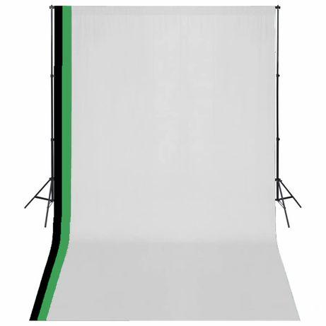 vidaXL Kit estúdio fotografia 3 fundos algodão, moldura ajustável 3x5m 275419